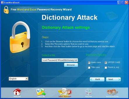 Dictionary attack settings.