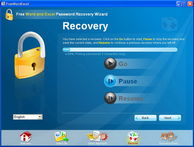FREE Word Excel password recovery Wizard screenshot