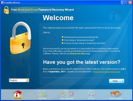 Free Word Excel password recovery. Welcome page.